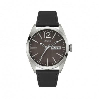 Мъжки часовник Guess с кафяв циферблат и черна каишка