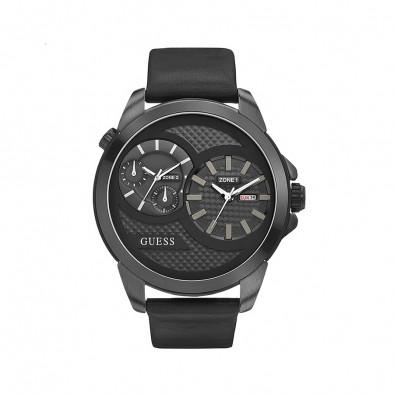 Мъжки часовник Guess черен с две времеви зони