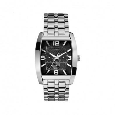 Мъжки часовник Guess сребрист браслет с правоъгълна каса