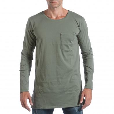 Мъжка зелена блуза с ципове отстрани it160817-84 2