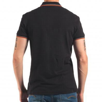 Мъжка черна тениска с яка с оранжев и бял кант it150616-32 3