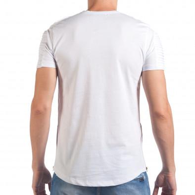 Мъжка бяла тениска с релефен надпис и странични ципове SAW 5