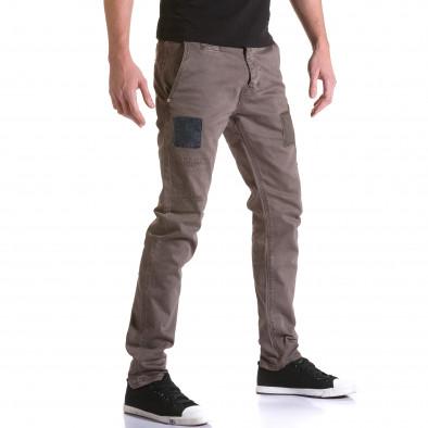 Мъжки кафяв панталон с декоративни кръпки it031215-18 4