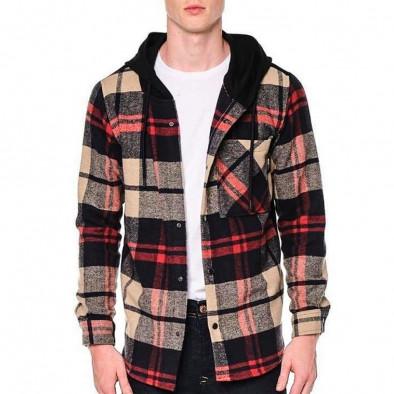 Мъжки кариран суичър-риза с качулка tr240921-9 2