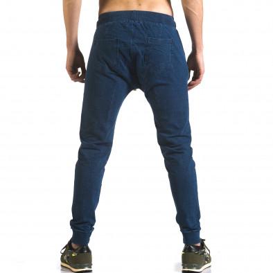 Мъжки сини потури с ефект на дънки и ципове на джобовете it090216-56 3