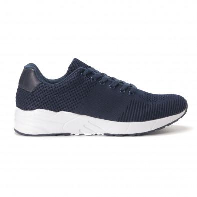 Леки мъжки маратонки от тъмно син релефен текстил it020618-22 2