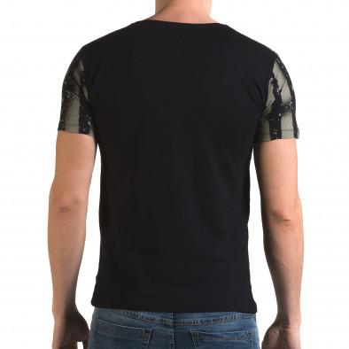 Мъжка синя тениска с принт знаме il120216-46 3