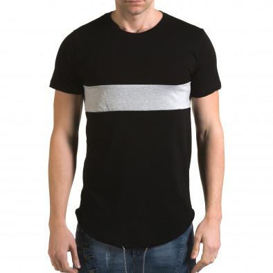 Мъжка черна издължена тениска със сива лента it090216-66 2