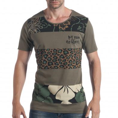 Мъжка зелена тениска с флорален принт tsf090617-36 2