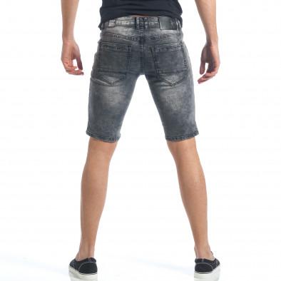Мъжки сиви къси дънки с релефна част it190417-65 3