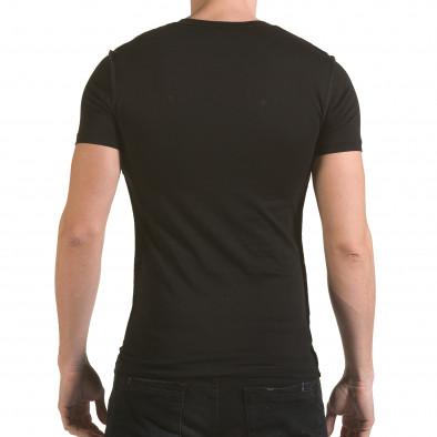 Мъжка черна тениска с 2 кръстосани ципа SAW 4