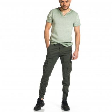 Мъжки зелен карго панталон Jogger & Big Size tr270421-11 4