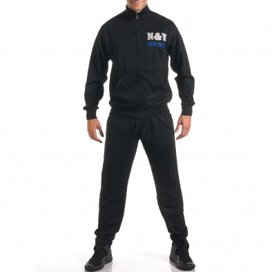 Мъжки черен спортен комплект с релефен надпис N&Y it160916-82 2
