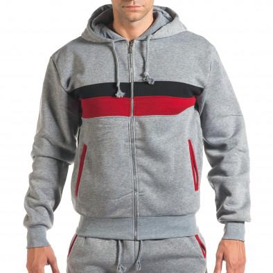 Мъжки сив спортен комплект с червена и черна лента it160916-66 4