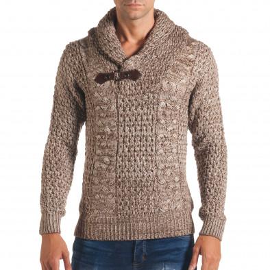 Мъжки бежов зимен пуловер със закопчаване на яката it170816-18 2