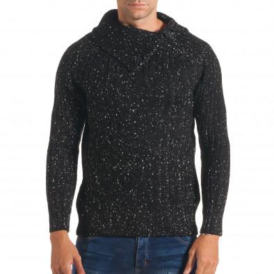 Мъжки черен зимен пуловер с малки бели точки it170816-52 2