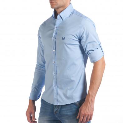 Мъжка синя риза с малки кръстчета il060616-118 4