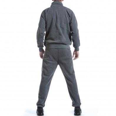 Мъжки тъмно сив спортен комплект с бели ленти it160817-73 3