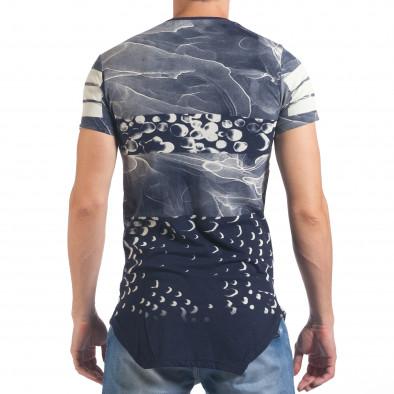 Мъжка синя тениска удължена с надпис New York il060616-1 3