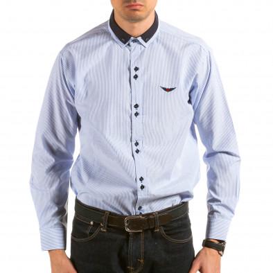 Мъжка синьо-бяла раирана риза il180215-177 2