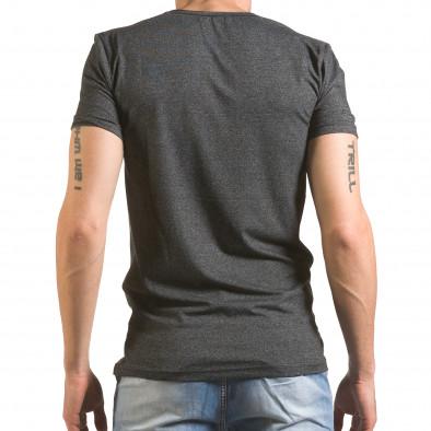 Мъжка тъмно сива тениска с голямо кръгло деколте tsf060416-6 3