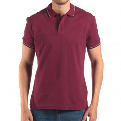 Мъжка червена тениска с яка със син и бял кант it150616-35 2