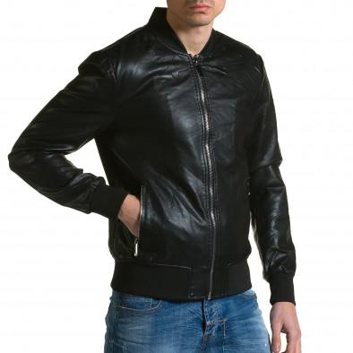 Мъжко черно кожено яке с релефни звезди ca190116-33 4