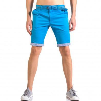 Мъжки светло син  къс панталон с плетен колан ca050416-56 2