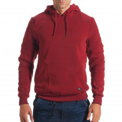 Мъжки червен суичър с декоративни скъсвания на ръкавите it240816-77 2