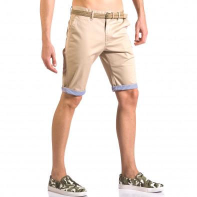 Мъжки бежов къс панталони с плетен колан Baci & Dolce 5