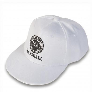 Мъжка бяла шапка с права козирка и емблема Marshall 4