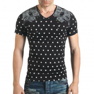 Мъжка черна тениска с декоративни дупки и принт звезди и рози Lagos 4