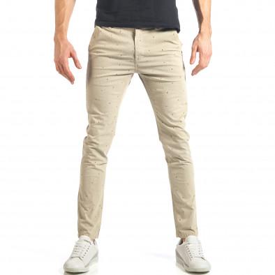 Мъжки панталон в цвят каки с малки детайли по плата it290118-36 2