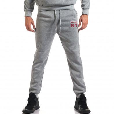 Мъжки сив спортен комплект с надпис it160916-58 5