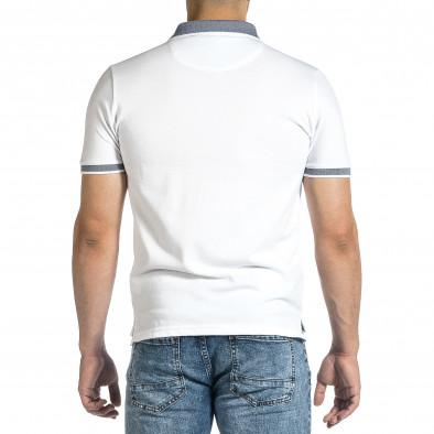 Мъжка бяла тениска с яка меланж it150521-14 3