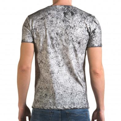 Мъжка сива тениска с избелял ефект il120216-17 3
