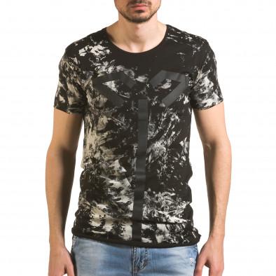 Мъжка черна тениска удължена с як принт tsf060416-2 2