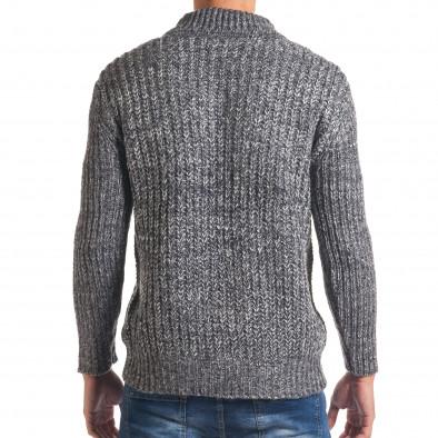 Мъжки синьо-бял зимен пуловер с копче на яката it170816-29 3