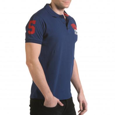 Мъжка тъмно синя тениска с яка с релефен надпис Super FRK il170216-28 4