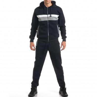 Мъжки син спортен комплект със сива и бяла лента it160916-65 2