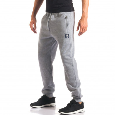 Мъжко сиво долнище с ципове на джобовете it160816-9 4