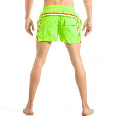 Мъжки неонов зелен бански с трицветна лента it040518-94 4