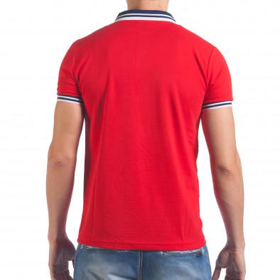 Мъжка червена тениска с яка със син номер 7 il060616-101 3