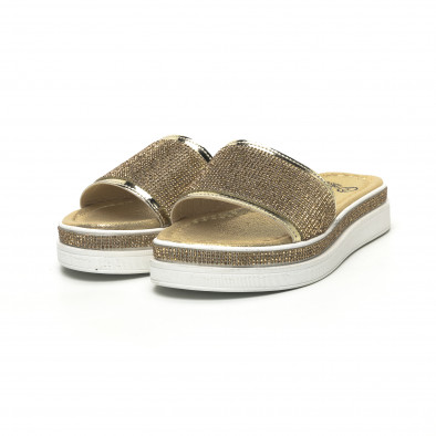 Дамски златисти чехли с камъчета tr180320-2 3