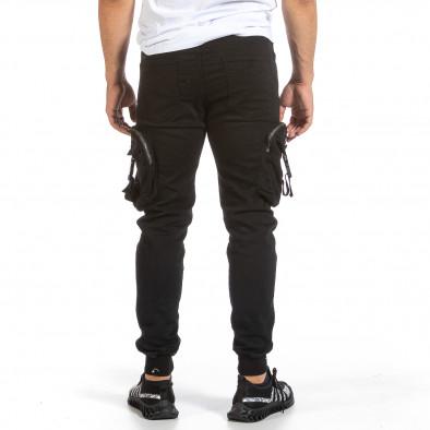 Черен карго панталон с трикотажен колан и маншети it240621-40 3