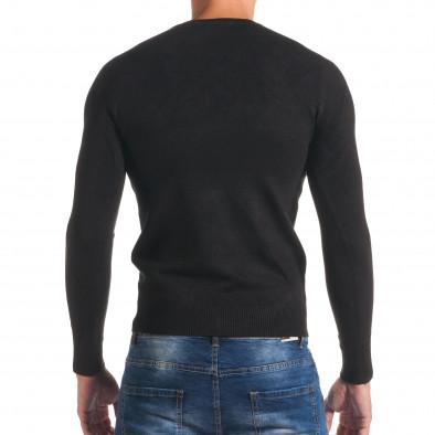 Мъжки черен изчистен пуловер с обло деколте it170816-40 3