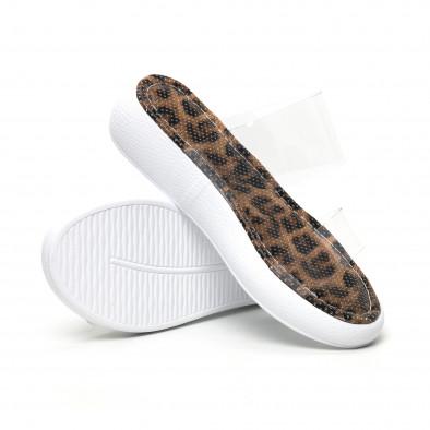 Дамски чехли с прозрачни каишки леопард tr180320-6 4