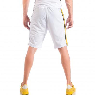 Бели мъжки шорти с контрастни ивици и ципове на джобовете it050618-29 4