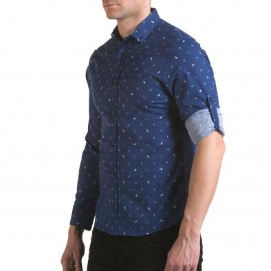 Мъжка синя риза с котвички и китове Jeanscollic 5