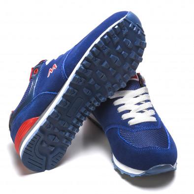 Мъжки сини маратонки с червени детайли it110316-102 4